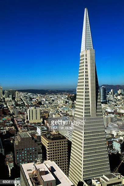 View of the Transamerica Pyramid from the Embarcadero Center Financial District San Francisco California United States of America