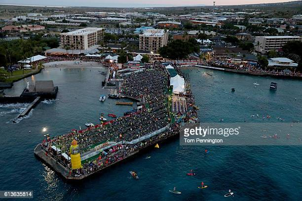 A view of the transition area prior to the start of the 2016 IRONMAN World Championship triathlon on October 8 2016 in Kailua Kona Hawaii