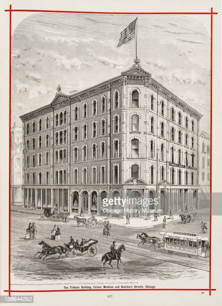 View of the Tribune Building on the corner of Madison and Dearborn Streets Chicago Illinois 1873