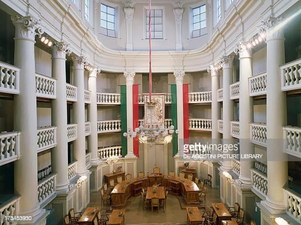 View of the Tricolor Hall by Ludovico Bolognini, Town hall, Reggio Emilia, Emilia-Romagna, Italy.
