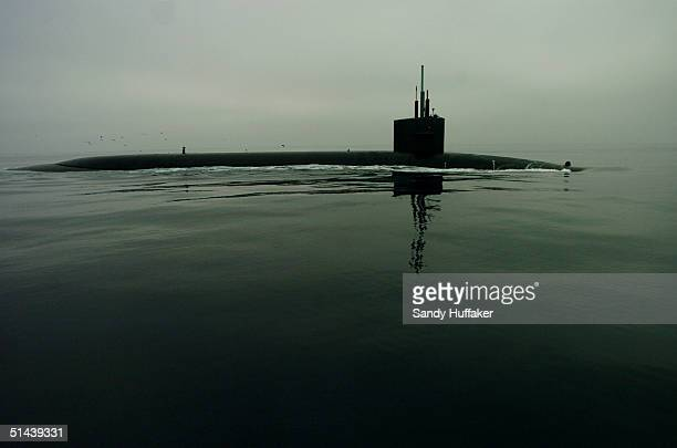 View of the Trident submarine USS Georgia on Thursday, October 7, 2004 off the coast of Southern California. The Georgia was engaging in operations...