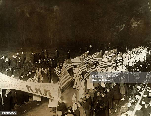 View of the triumphal parade through Youngstown Ohio in the Konklave held to celebrate the election of Charles Schoiblo endorsed by the Ku Klux Klan...