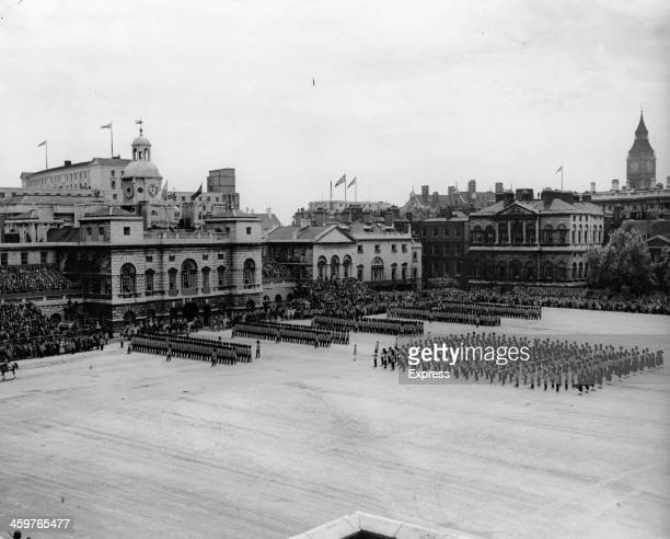 A view of the Trooping of the Colour ceremony on London England
