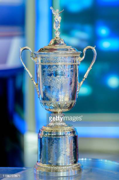 """View of the trophy as US Open winner Gary Woodland visits """"Varney & Co"""" at the Fox Business Network Studios on June 18, 2019 in New York City."""