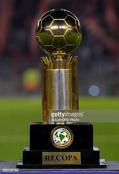 View of the trophy before the Recopa Sudamericana 2016 second leg final football match between Argentina's River Plate and Colombia's Independiente...