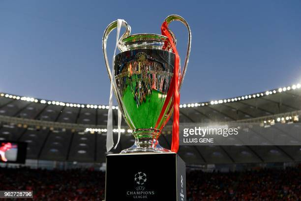 TOPSHOT View of the trophy before the UEFA Champions League final football match between Liverpool and Real Madrid at the Olympic Stadium in Kiev...