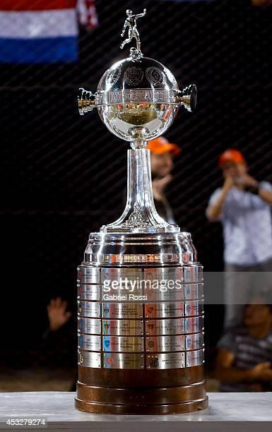 A view of the trophy during a first leg final match between Nacional and San Lorenzo as part of Copa Bridgestone Libertadores 2014 at Defensores del...