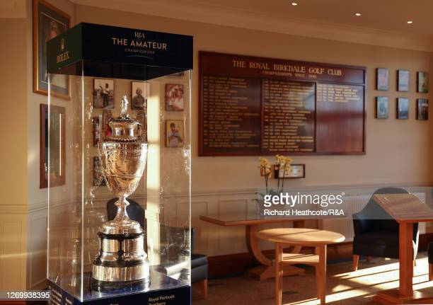 View of the trophy in the clubhouse during the final of The Amateur Championship at Royal Birkdale on August 30, 2020 in Southport, England.