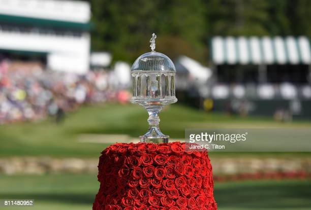 A view of the trophy on the 18th tee during the final round of The Greenbrier Classic held at the Old White TPC on July 9 2017 in White Sulphur...