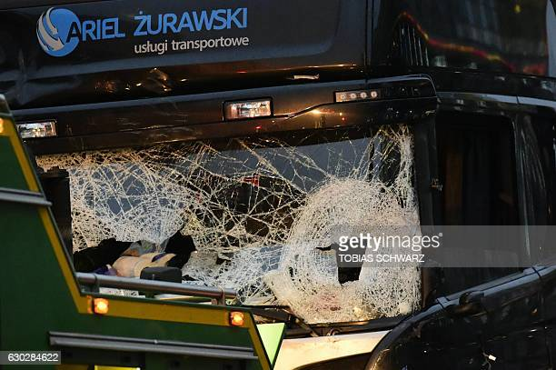 View of the truck that crashed the evening before into a christmas market at Gedächtniskirche church on early December 20 2016 in Berlin German...
