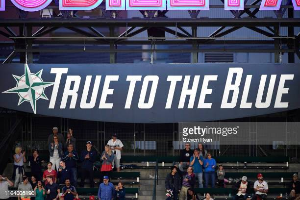"""View of the """"True to the Blue"""" sign during a game between the Seattle Mariners and the St. Louis Cardinals at T-Mobile Park on July 03, 2019 in..."""