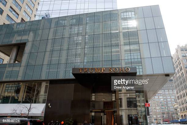 A view of the Trump SoHo hotel condominium building February 21 2017 in New York City The development of Trump SoHo completed in 2010 was constructed...