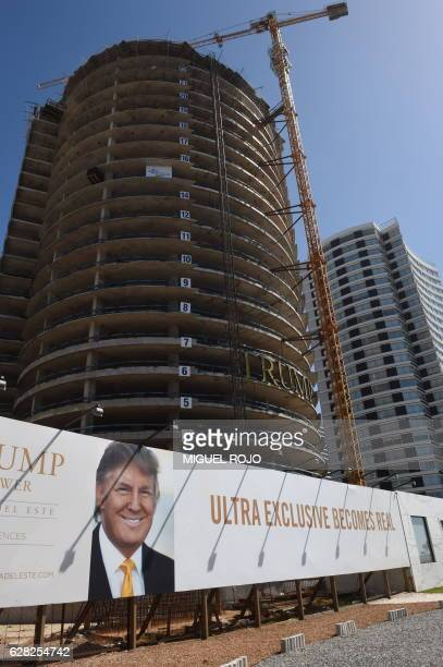 View of the Trump Tower under construction in the exclusive Uruguayan resort of Punte del Este 140km east of Montevideo on December 4 2016 / AFP /...