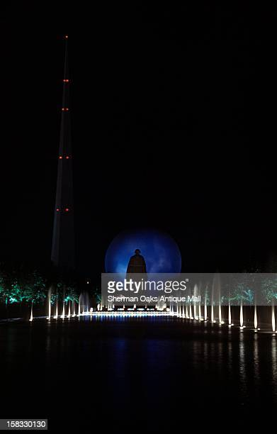 A view of the Trylon and Perisphere lit up at night at the 1939 New York World's Fair in Flushing Meadows Queens New York City New York