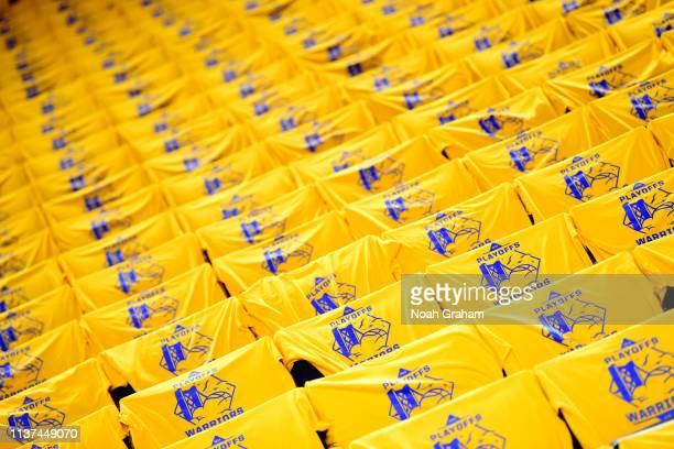 A view of the tshirts for fans prior to a game against the LA Clippers before Game Two of Round One of the 2019 NBA Playoffs on April 15 2019 at...