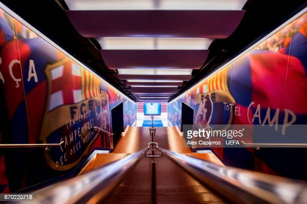A view of the tunnel ahead of the UEFA Champions League Quarter Final second leg match between FC Barcelona and Juventus at Camp Nou on April 19 2017...