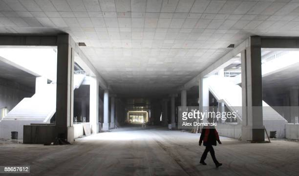 View of the tunnel at the construction area for the new train station at the BBI airport on June 24 2009 in Schoenefeld near Berlin Germany BBI has a...