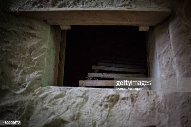 View of the tunnel Joaquin 'El Chapo' Guzman used to escape, during an operation on the surroundings of Mexican Maximum Security Prison of 'El...