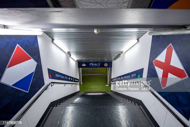 View of the tunnel to access the pitch at the Estadio Dom Afonso Henriques prior the UEFA Nations League SemiFinal matches on June 4 2019 in...