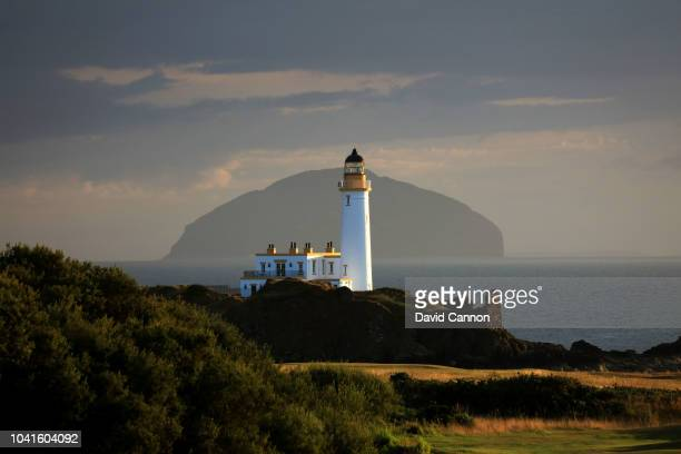 A view of the Turnberry Lighthouse with the island of Ailsa Craig behind from the eleventh fairway on the King Robert the Bruce Course at the Trump...
