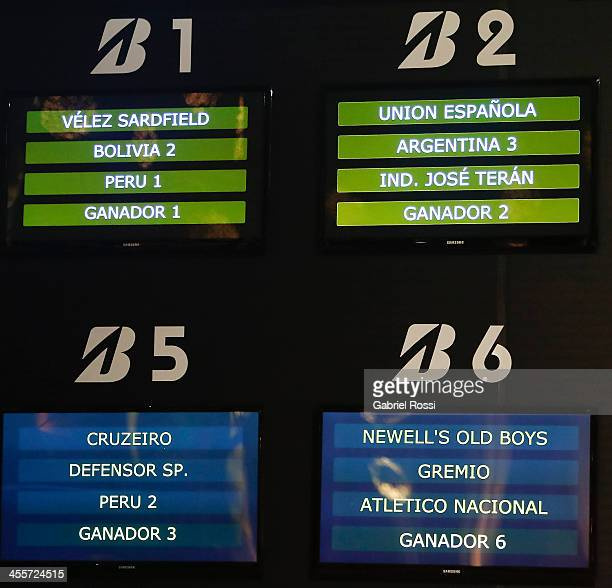 View of the TV screens with the fixtures of groups 1 5 and 6 during the Official Draw of Bridgestone Libertadores Cup 2014 at CONMEBOL Building on...