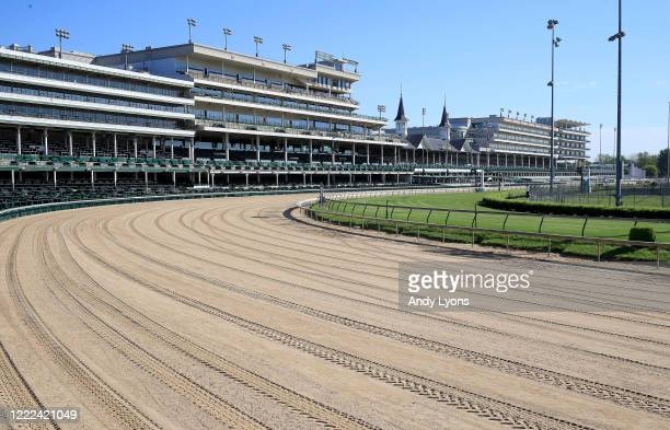 A view of the twin spires and empty grandstand from the first turn at Churchill Downs on May 02 2020 in Louisville Kentucky The 146th running of the...
