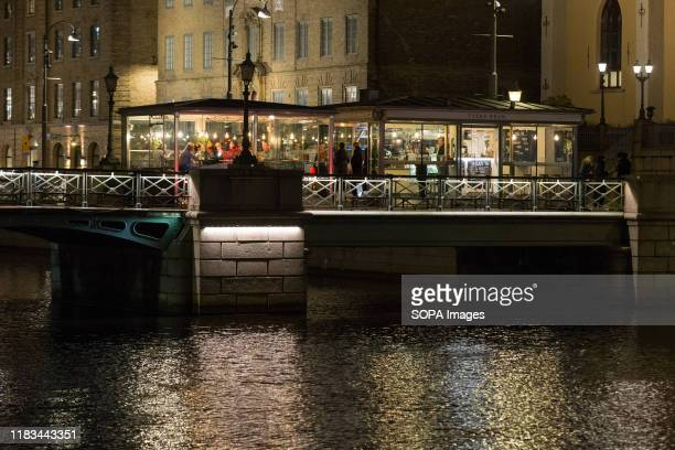 A view of the Tyska Bron restaurant on the bridge at the Stora Hamnkanalen The Big Harbour Canal in Gothenburg