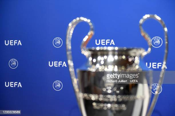View of the UEFA Champions League trophy ahead of the UEFA Champions League 2021/22 Preliminary Round draw at the UEFA headquarters, The House of...