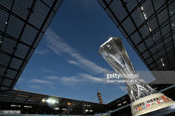 View of the UEFA Europa League Trophy is seen inside the stadium prior to during the UEFA Europa League Final between Seville and FC Internazionale...