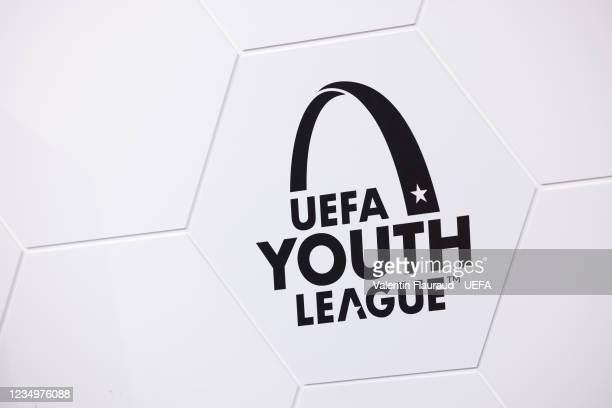 View of the UEFA Youth League logo ahead of the UEFA Youth League 2021/22 Domestic Champions Path Draw at the UEFA headquarters, The House of...