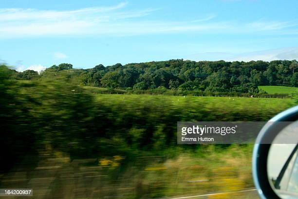 a view of the uk countryside from the motorway - hutton stock photos and pictures