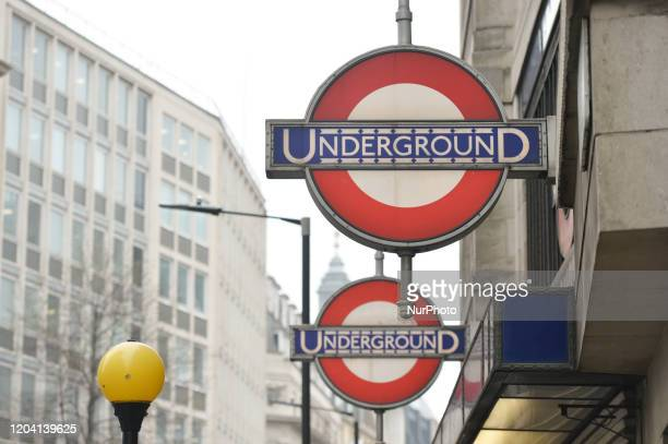 A view of the Underground sign outside the entrance to St James's Park Underground Station in London On Saturday 25 January 2020 in London United...