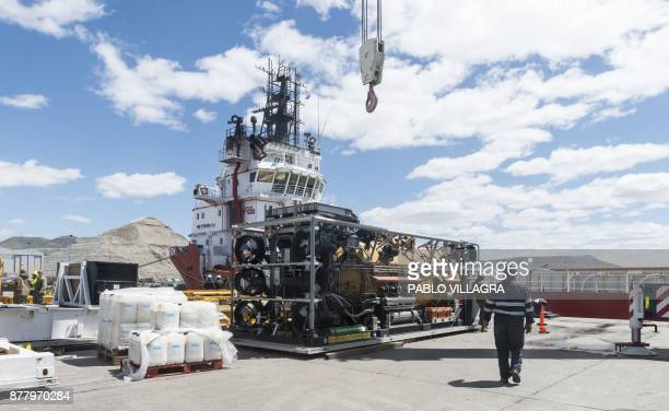 View of the Undersea Rescue Command the US Navy's only submarine rescue unit preparing for the installation of the Submarine Rescue Diving and...