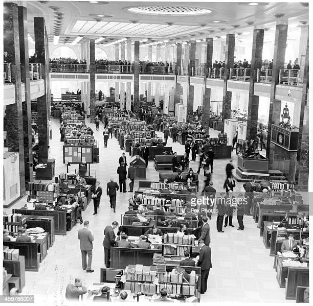 A view of the underwriting room of Lloyds of London in LondonEngland Circa 1960