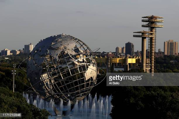 View of the Unisphere as seen from Arthur Ashe stadium on day five of the 2019 US Open at the USTA Billie Jean King National Tennis Center on August...