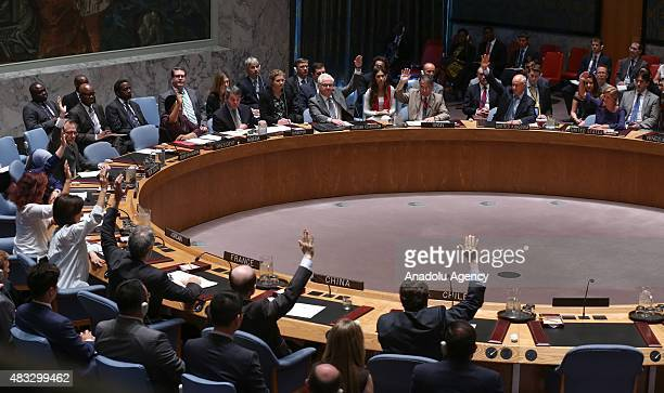 A view of the United Nations Security Council meeting at UN headquarters in New York USA on August 07 2015 The UN Security Council has unanimously...