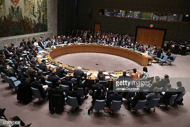 A view of the United Nations Security Council Meeting where actress/activist Angelina Jolie spoke on the refugee situation in the Middle East And...