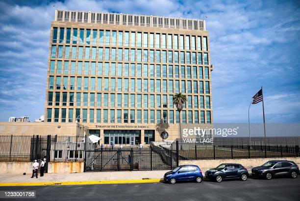 View of the United States Embassy in Havana on May 20, 2021. - The United States Embassy in Havana began Wednesday a process of interviews with Cuban...