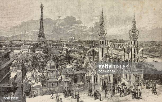 View of the Universal Exposition of 1889 from the Quay d'Orsay Paris France engraving from a drawing by A Bonamore from L'Illustrazione Italiana year...