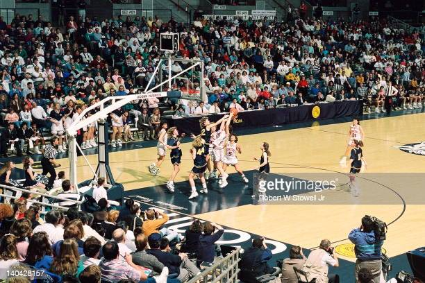 View of the University of Connecticut women's basketball team playing against the University of Toledo during the second round of the NCAA...