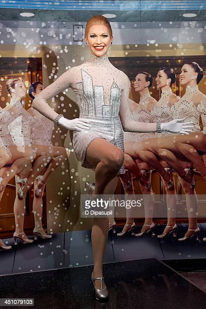 A view of the unveiling of a new ensemble for a Rockette wax figure as created on Lifetime's 'Project Runway' at Madame Tussauds on November 21 2013...