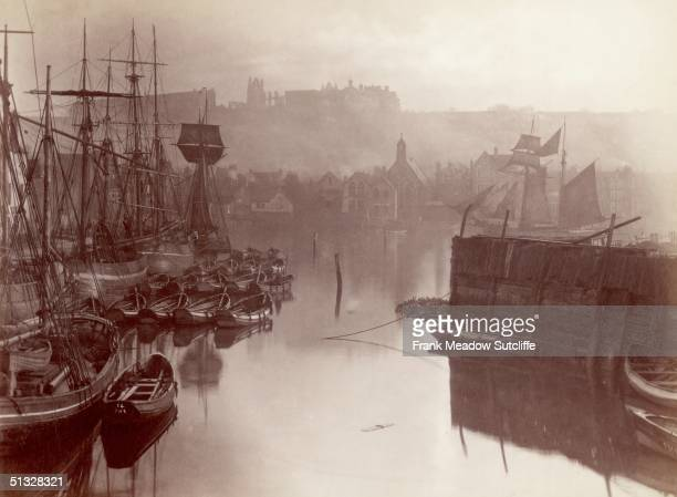 A view of the upper harbour in Whitby circa 1880