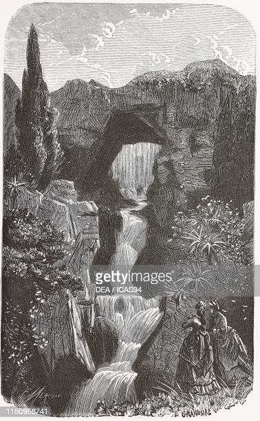 View of the upper part of the waterfall Parc de Buttes Chaumont Paris France engraving from Les Promenades de Paris by Adolphe Alphand published by J...