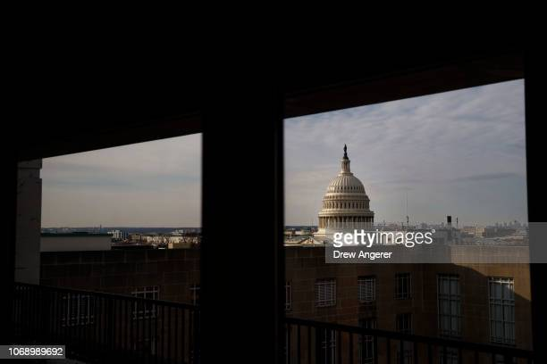 A view of the US Capitol during a news conference to demand action for gun violence prevention December 6 2018 in Washington DC Family members of...