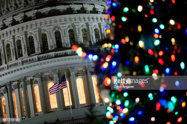 A view of the US Capitol during the US Capitol Christmas Tree lighting ceremony on Capitol Hill December 6 2017 in Washington DC The tree is a...