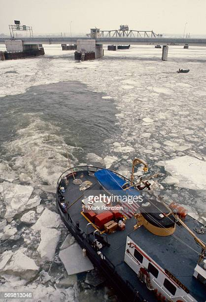 View of the US Coast Guard tugboat Capstan in the Potomac River to aid in the salvage of Air Florida Flight 90 Washington DC January 15 1982 On...