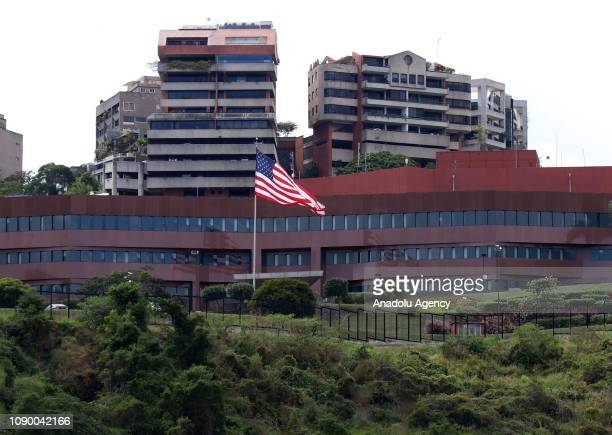 A view of the US Embassy in Caracas Venezuela on January 27 2019 According to the written statement of Venezuelan Foreign Ministry US diplomatic...