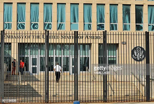 View of the US Embassy in Havana on December 17 2015 The United States announced Thursday the resumption of regular flights to and from Cuba the...
