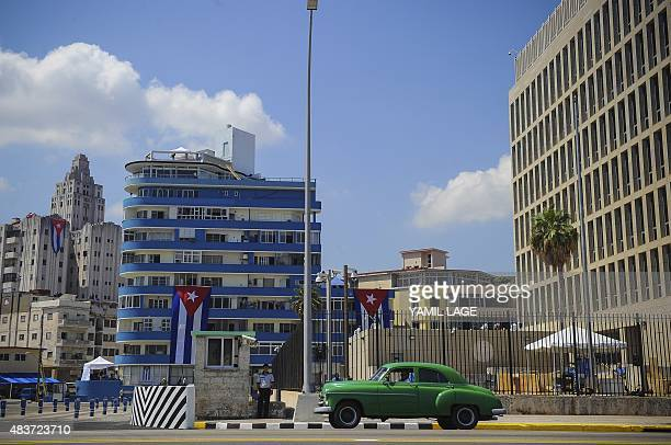 View of the US embassy on Havana's waterfront Malecon on August 12 2015 The former US Interests Section became an embassy on July 20 but no US flag...