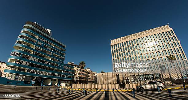 View of the US embassy on Havana's waterfront Malecon on August 7 2015 The former US Interests Section became an embassy on July 20 but no US flag...